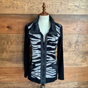 Zenergy by Chico's Black& Zebra Sweater Jacket